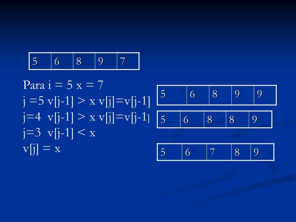 j =5 v[j-1] > x v[j]=v[j-1] j=4 v[j-1] > x v[j]=v[j-1]
